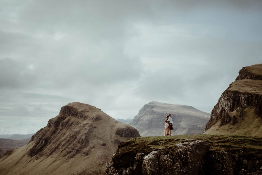 Couple hugging on the Quiraing at their elopement on the Isle of Skye